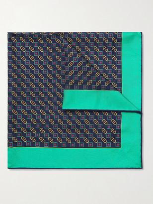 Gucci Logo-Print Silk Pocket Square