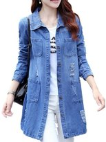 LUCKFACE 2016 Women's Casual High Street Denim Jacket Long Loose Holes Outwear S-5XL