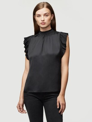 Frame Pleated Ruffle Sleeveless Top