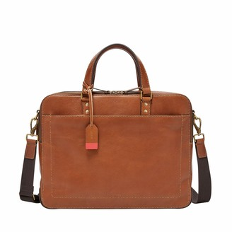 Fossil Defender Double Zip Workbag Cognac Messenger Bag