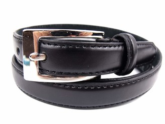"Milano Ladies Skinny Black Leather Belt (26"" to 29"" Small)"