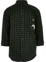 River Island Boys dark green check longline shirt