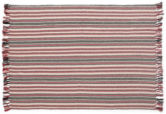 Gdfstudio Florian Boho Cotton Throw Blanket, Muted Red and Muted Black