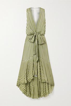 Silvia Tcherassi Gina Tie-front Gingham Chiffon Midi Dress - Leaf green