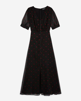 The Kooples Long short-sleeve black dress w/buttons&heart