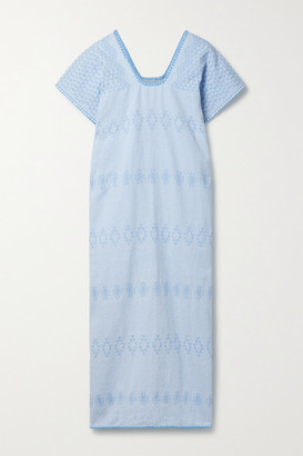 Pippa + Net Sustain Embroidered Cotton Huipil - Light blue