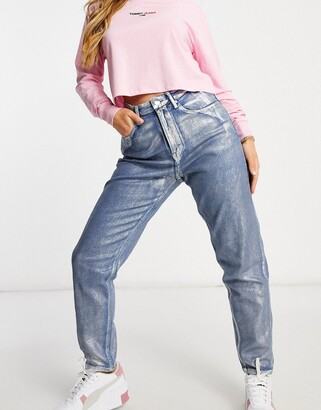 Tommy Jeans high rise silver metallic coated mom jean in blue