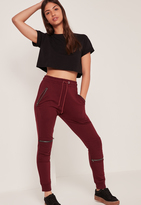 Missguided Burgundy Zip Detail Biker Knee Joggers
