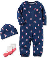 Carter's 3-Pc. Cotton Owl-Print Hat, Coverall & Socks Set, Baby Girls
