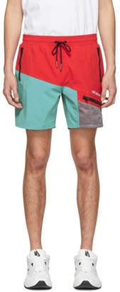 Leon Aime Dore Red Logo Zipper Pocket Shorts