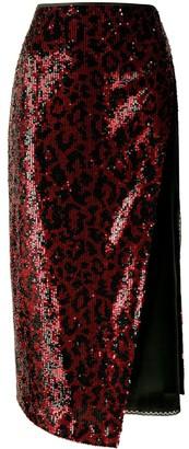 No.21 Leopard Pattern Panel Midi Skirt