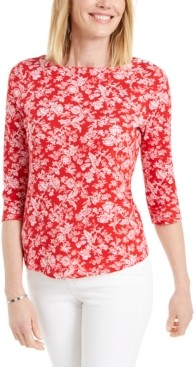 Charter Club Floral-Print Pima Cotton Boat-Neck Top, Created for Macy's