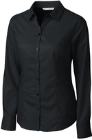 Cutter & Buck Black Epic Easy Care Twill Long-Sleeve Button-Up - Plus Too