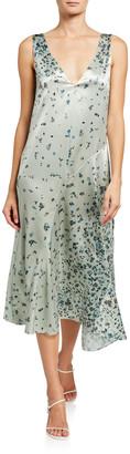 Vince Scattered Floral V-Neck Midi Dress