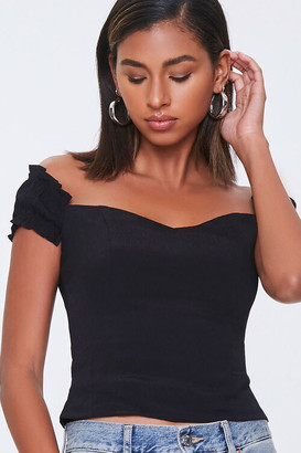 Forever 21 Off-the-Shoulder Ruffle-Trim Top