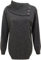 Envy Boutique Womens Knitted 3 Butons Polo Neck Pullover Sweater Jumper Top Plus Sizes 14-16