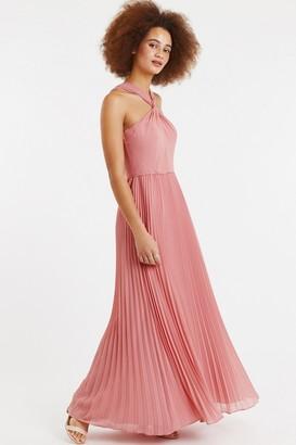 Oasis Pale Pink Twist-Neck Chiffon Pleated Maxi Dress