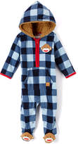 Baby Starters Frosted Blue & Navy Plaid Hooded Playsuit - Infant