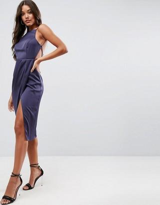 Asos Design Drape Back Delicate Backless Midi Dress-Navy