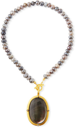 Dina Mackney Titanium Moonstone & Black Mother-of-Pearl Necklace