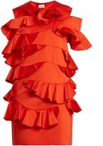 Maison Rabih Kayrouz Ruffle-trimmed duchess-satin dress