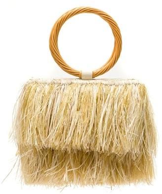 Serpui Marie Raffia Fringed Bag