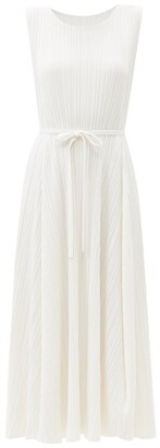 Pleats Please Issey Miyake Belted Technical-pleated Dress - White