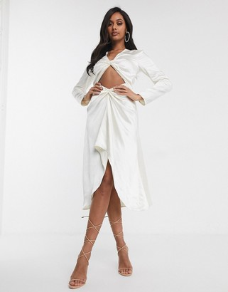 UNIQUE21 Unique 21 cut out front midi dress in off white