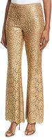 Michael Kors Metallic Floral Lace Pants, Gold