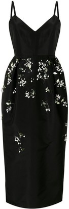Carolina Herrera Embellished Silk Midi Dress