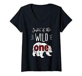 Womens Sister of the Wild One Vintage Bear Lumberjack 1st Birthday V-Neck T-Shirt