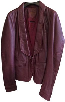 Ikks Burgundy Leather Jacket for Women