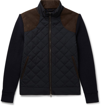 JAMES PURDEY & SONS Faux Suede-Trimmed Panelled Quilted Virgin Wool-Blend And Shell Jacket