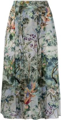 Alberta Ferretti Pleated Floral Print Skirt