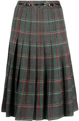 Céline Pre-Owned Pre-Owned Pleated Check Skirt