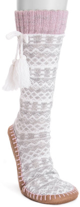 Muk Luks Women's Slippers Light - Light Gray Fair Isle Tassel Slipper Socks - Women