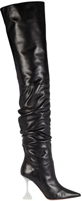 Amina Muaddi Olivia Glass Tall Leather Boots