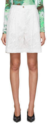 MSGM White Lace Bermuda Shorts
