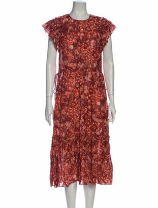 Ulla Johnson Floral Print Midi Length Dress Red