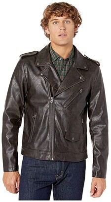 Levi's Faux Leather Moto (Antique Brown) Men's Clothing