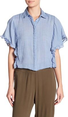 CODEXMODE Button Front Ruffled Short Sleeve Shirt