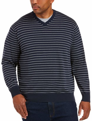 Amazon Essentials Men's Big and Tall Big & Tall V-Neck Stripe Sweater