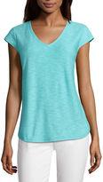 Liz Claiborne Short Sleeve V Neck T-Shirt-Womens