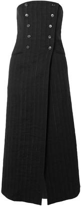Ann Demeulemeester Convertible Double-breasted Pinstriped Linen-blend Midi Skirt
