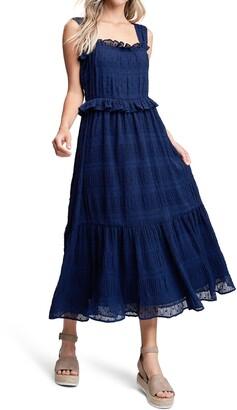 En Saison Tiered Chiffon Midi Dress