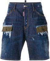 DSQUARED2 patchwork denim shorts