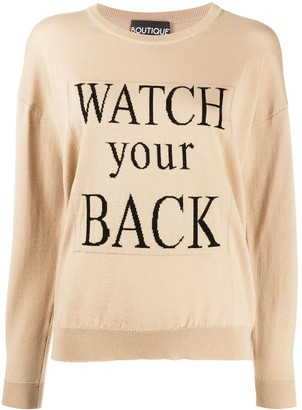 Boutique Moschino Watch Your Back slogan jumper