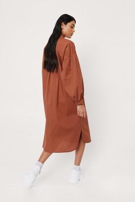Nasty Gal Womens Puff Sleeve Cotton Poplin Midi Shirt Dress - Orange - 4