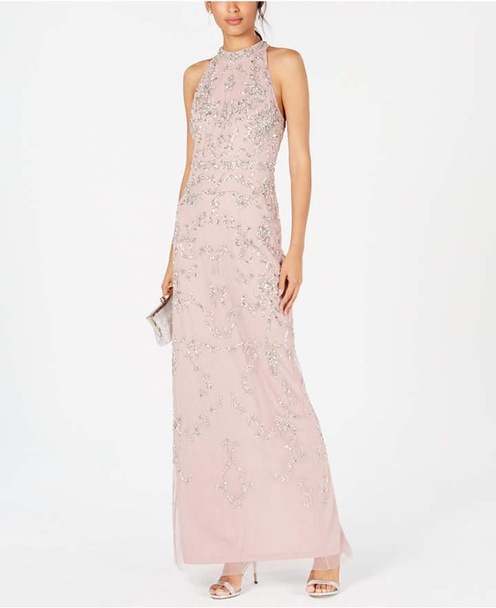 Petite Beaded Halter Gown