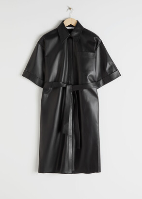 And other stories Oversized Leather Shirt Dress